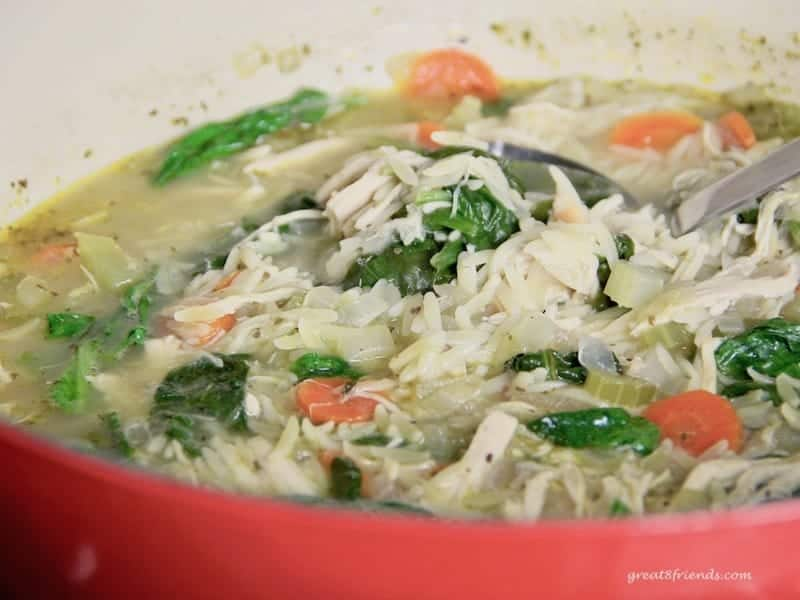 Upclose photo of red pot of Lemony Chicken Orzo Soup.