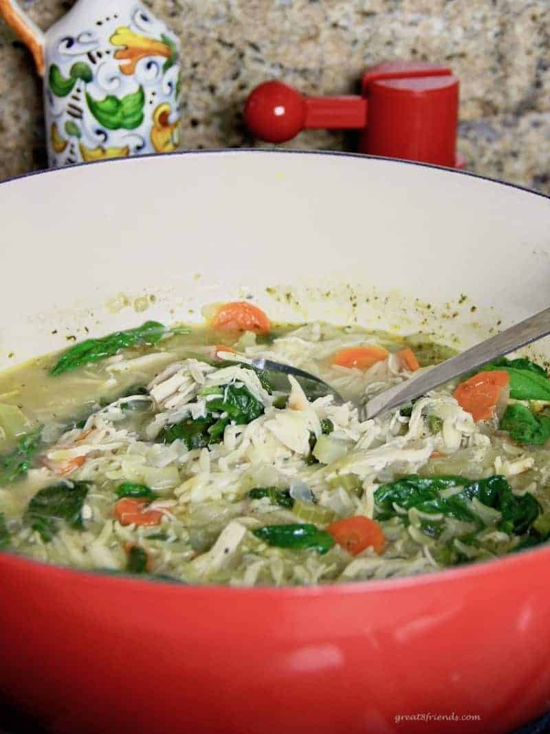 Change a couple of ingredients in your Chicken Noodle Soup and you will have a fresh and Easy Lemony Chicken Orzo Soup perfect for any lunch or dinner.