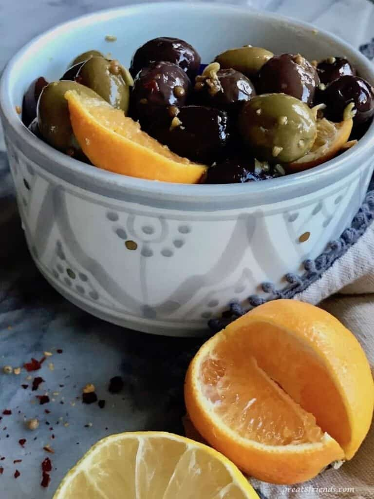 citrus marinated olives as an appetizer