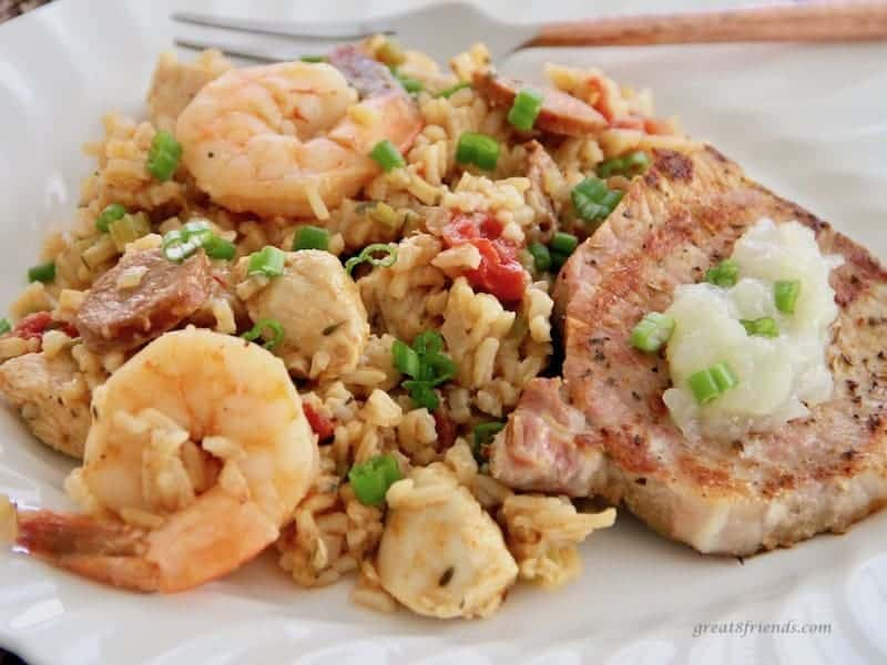 Jambalaya and Pork Cutlets with Onion Applesauce