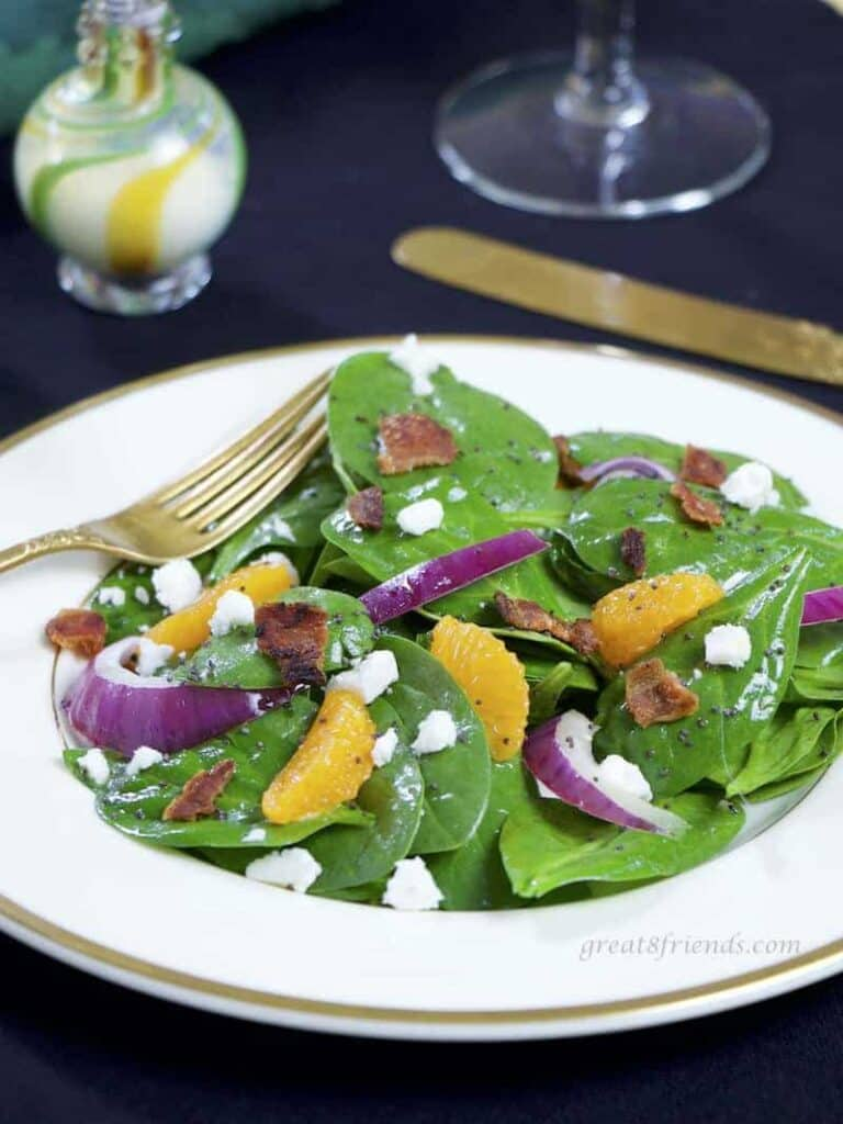 Spinach salad with poppyseed dressing.
