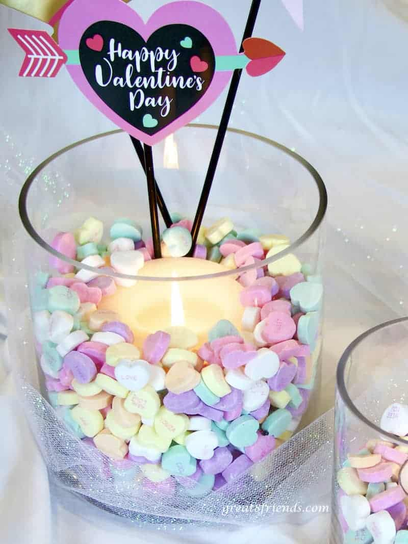 Galentine's Day heart candy candle holder