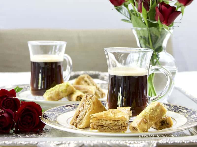 Two plates of homemade Lebanese Baklava with Turkish Coffee
