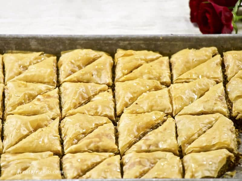Cooking tray of homemade Lebanese Baklava