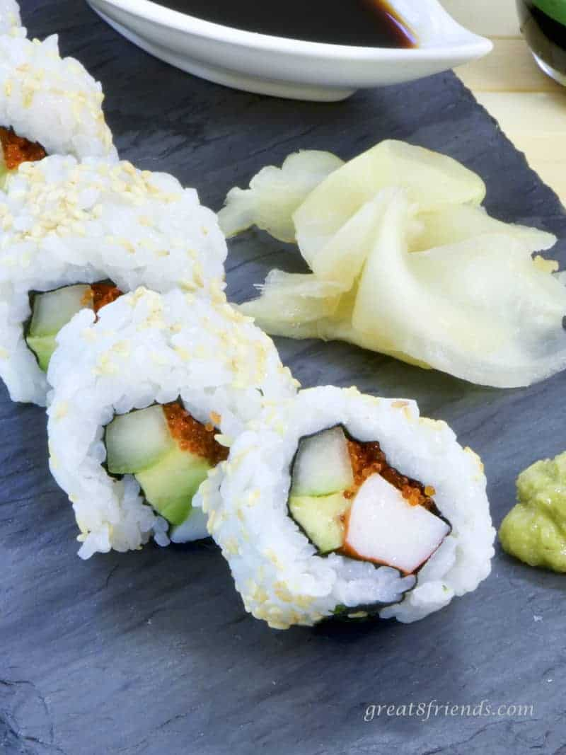 California Roll close up with ginger.