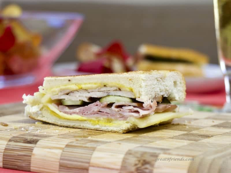 Cubano Sandwich on cutting board.