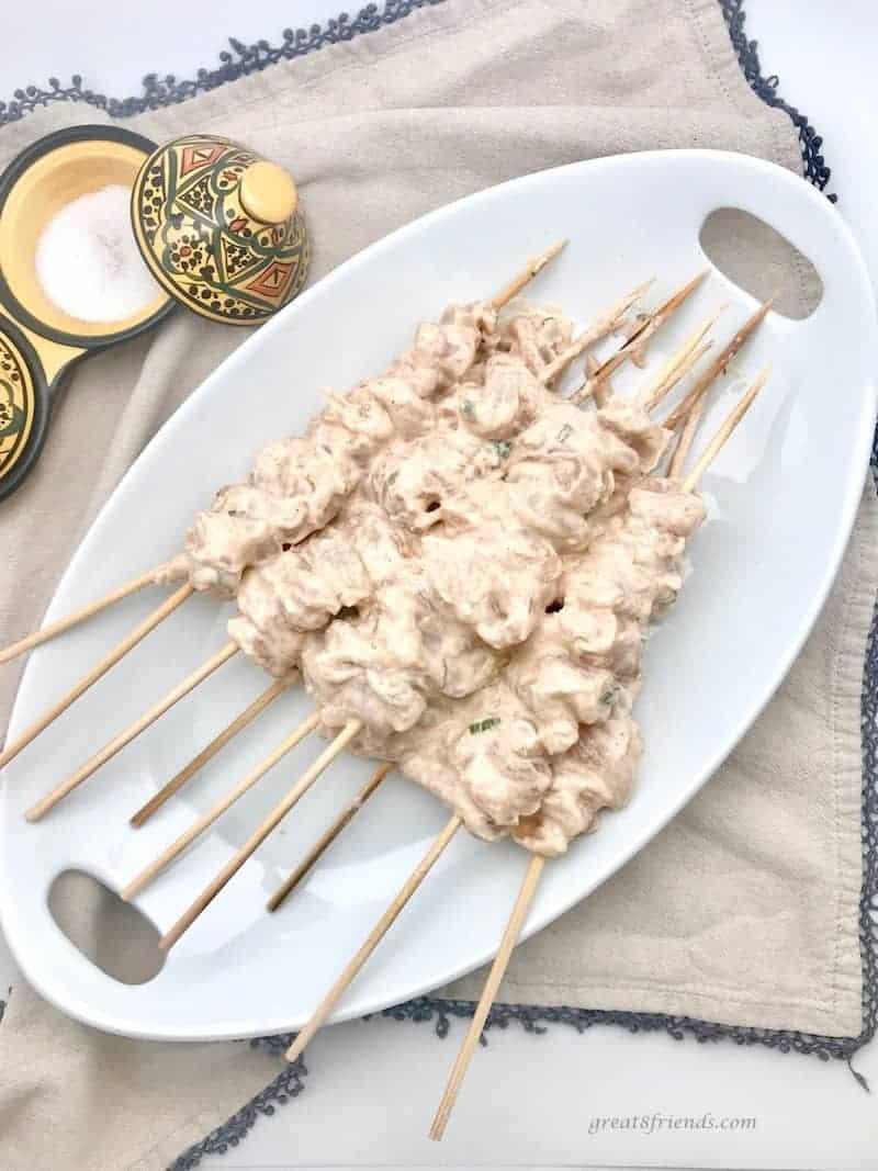 Marinading Middle East Grilled Lemon Yogurt Chicken skewers