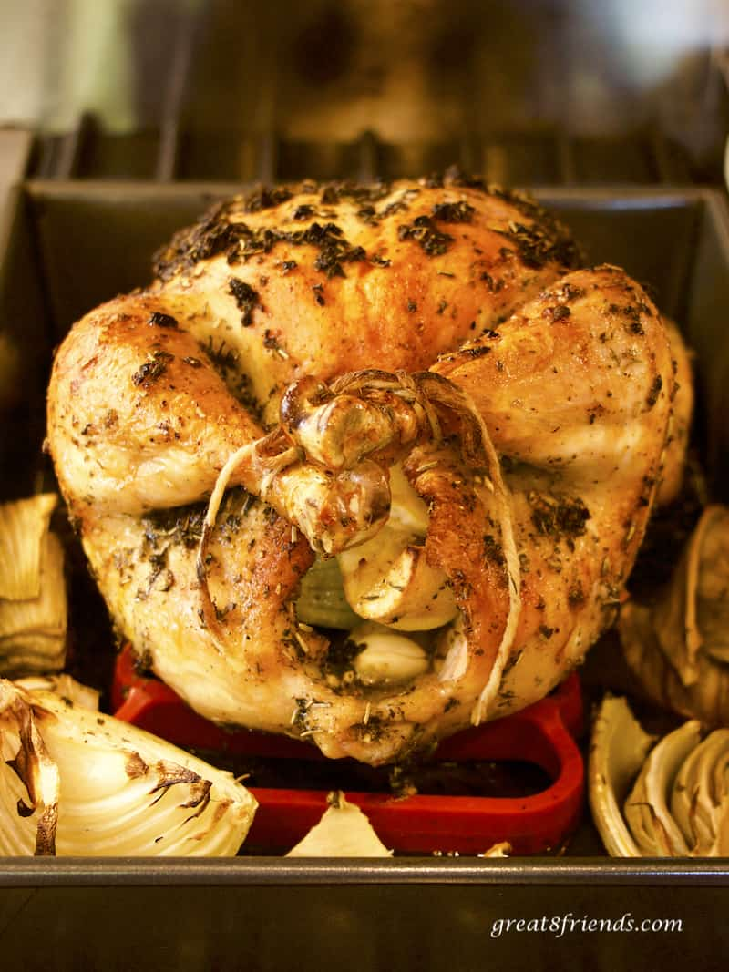 Whole roast chicken.