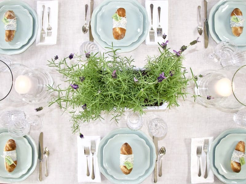 Overhead top down view of set table for Provence dinner party.