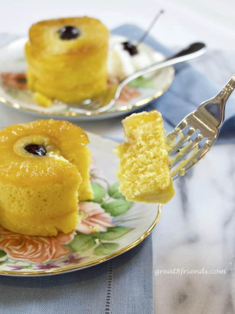 A bite of Pineapple Upside Down Cake