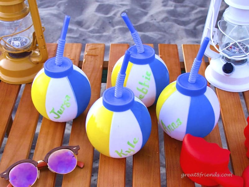 Beach ball cups with names.