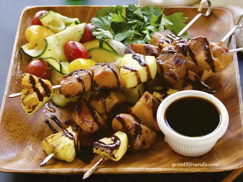 Teriyaki Chicken Skewers close up