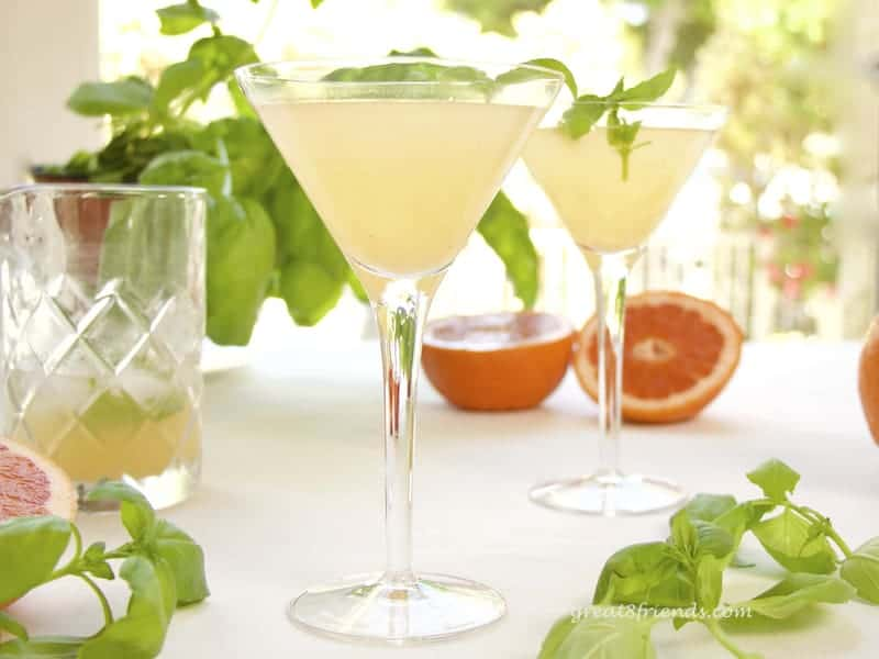 Grapefruit Basil Martini in 2 glasses