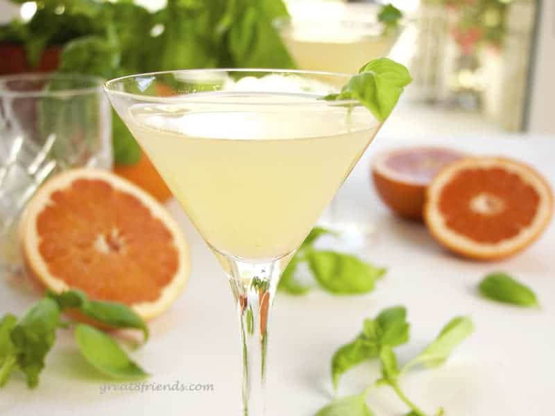 1 Grapefruit Basil Martini closeup