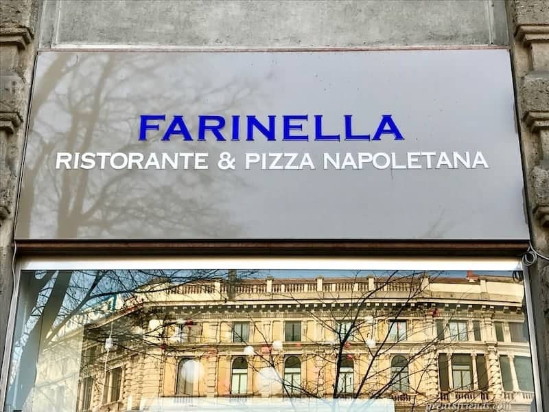 Sign of the Farinella Ristorante & Pizza Napoletana in Milan.