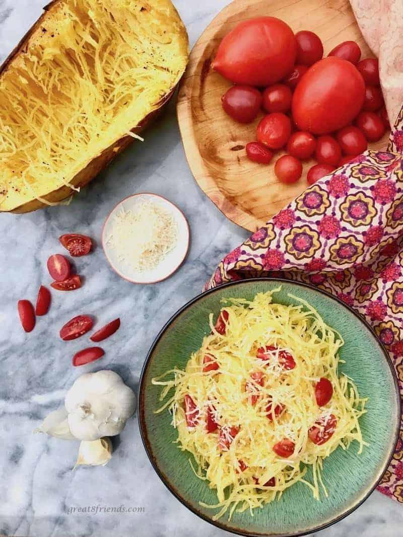 Spaghetti squash and tomatoes and garlic and cheese.