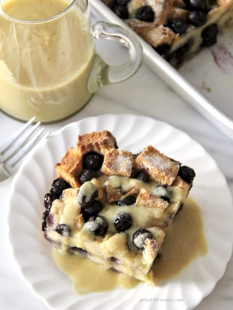 Set your table with this easy and delicious Blueberry Bread Pudding with Maple Whiskey Sauce!