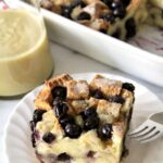 Set your table with this super easy recipe of Blueberry Bread Pudding with Maple Whiskey Sauce