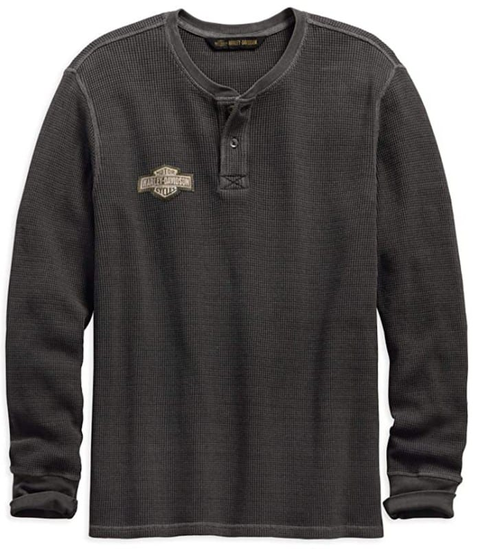 A gray thermal long sleeved shirt with the Harley-Davidson emblem.