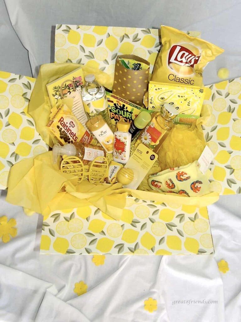 A yellow box of yellow items ready to send as a box of sunshine.