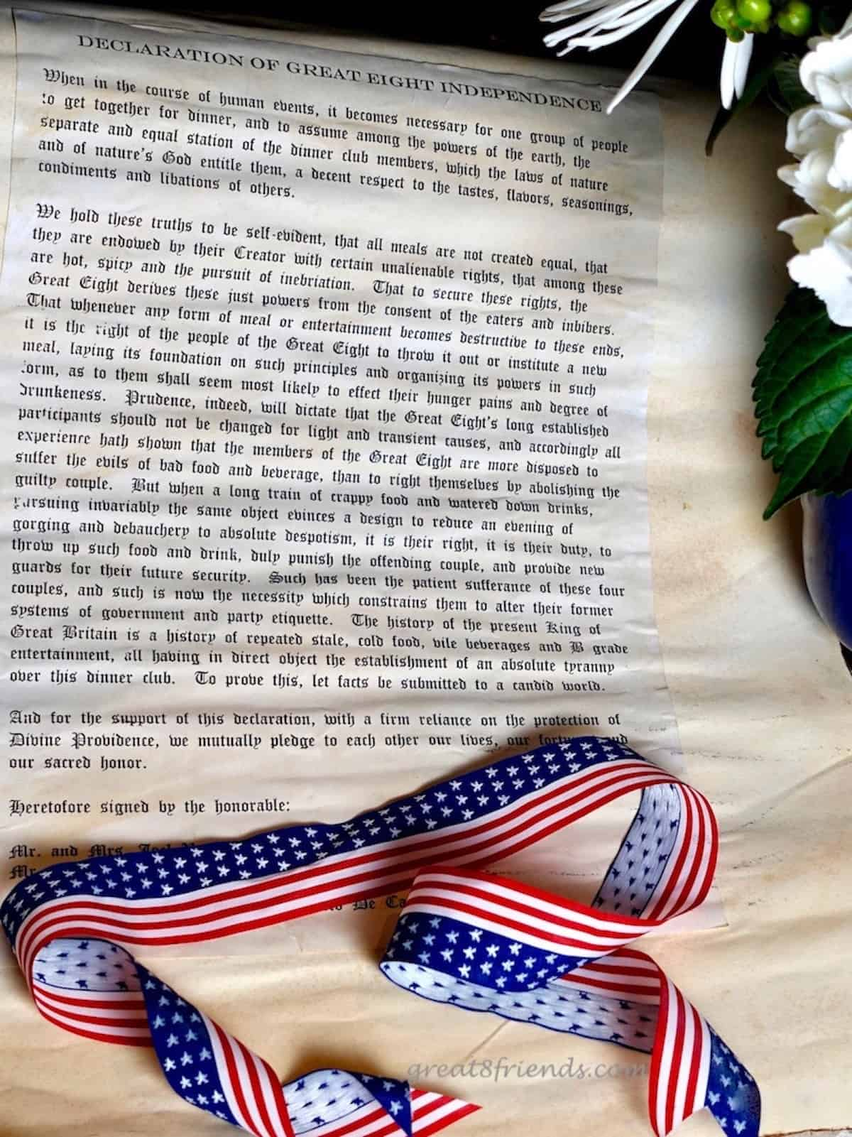 A Version of the Constitution that is a dinner invitaiton.