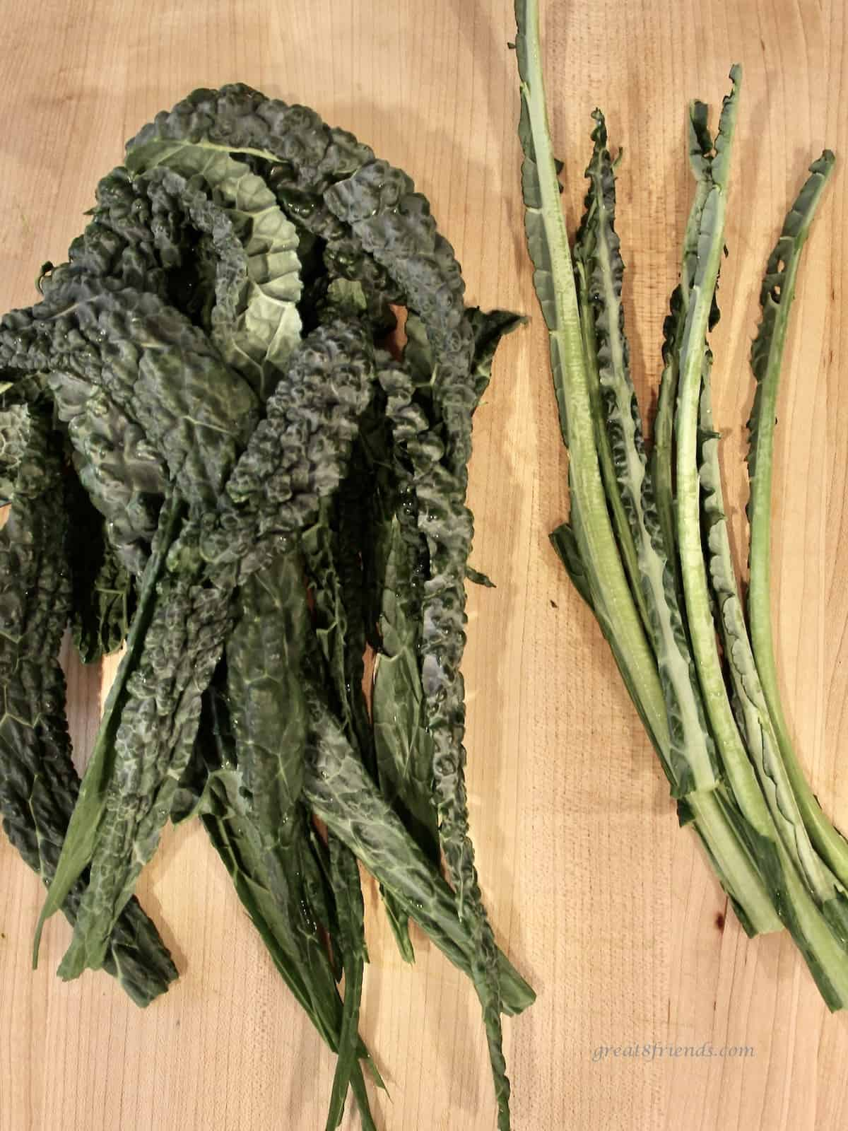 Tuscan kale leaves with the stems cut out and set aside.