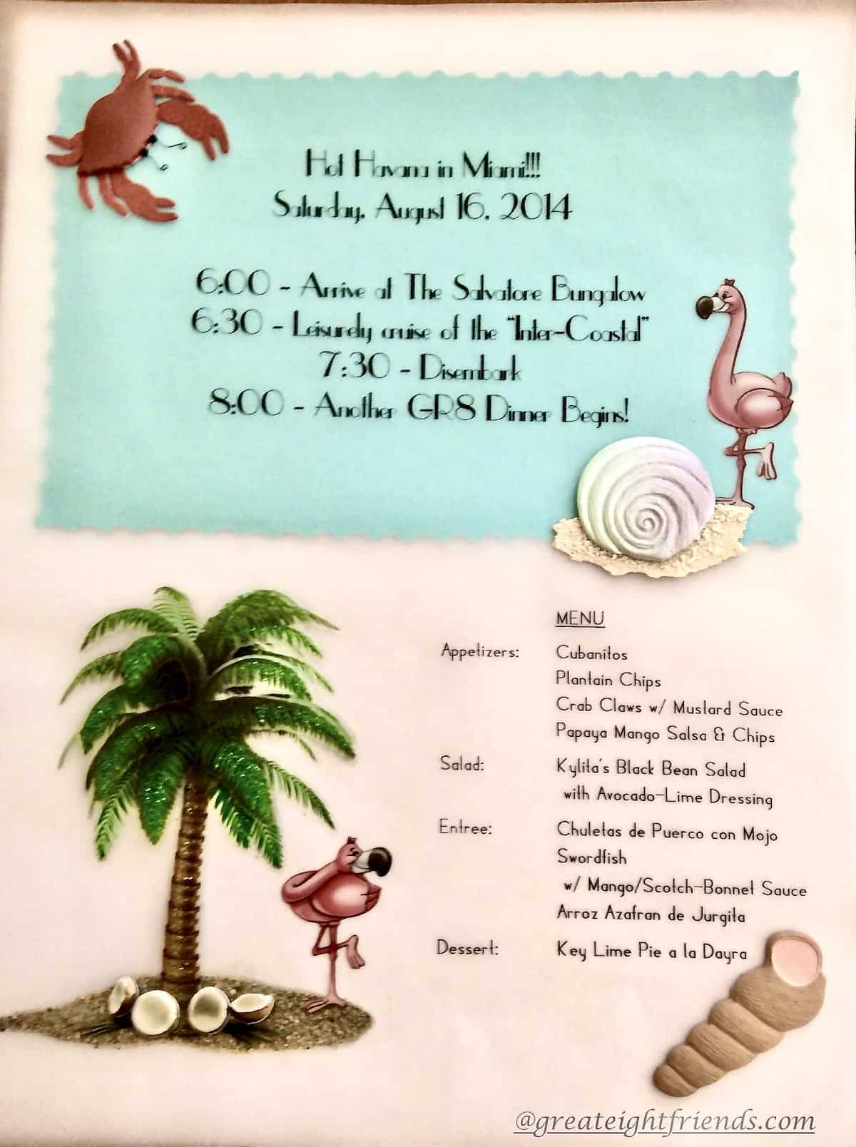 Invitation to a themed dinner party titled Hot Havana in Miami. The invite includes the day, time, and menu plus some tropical stickers.