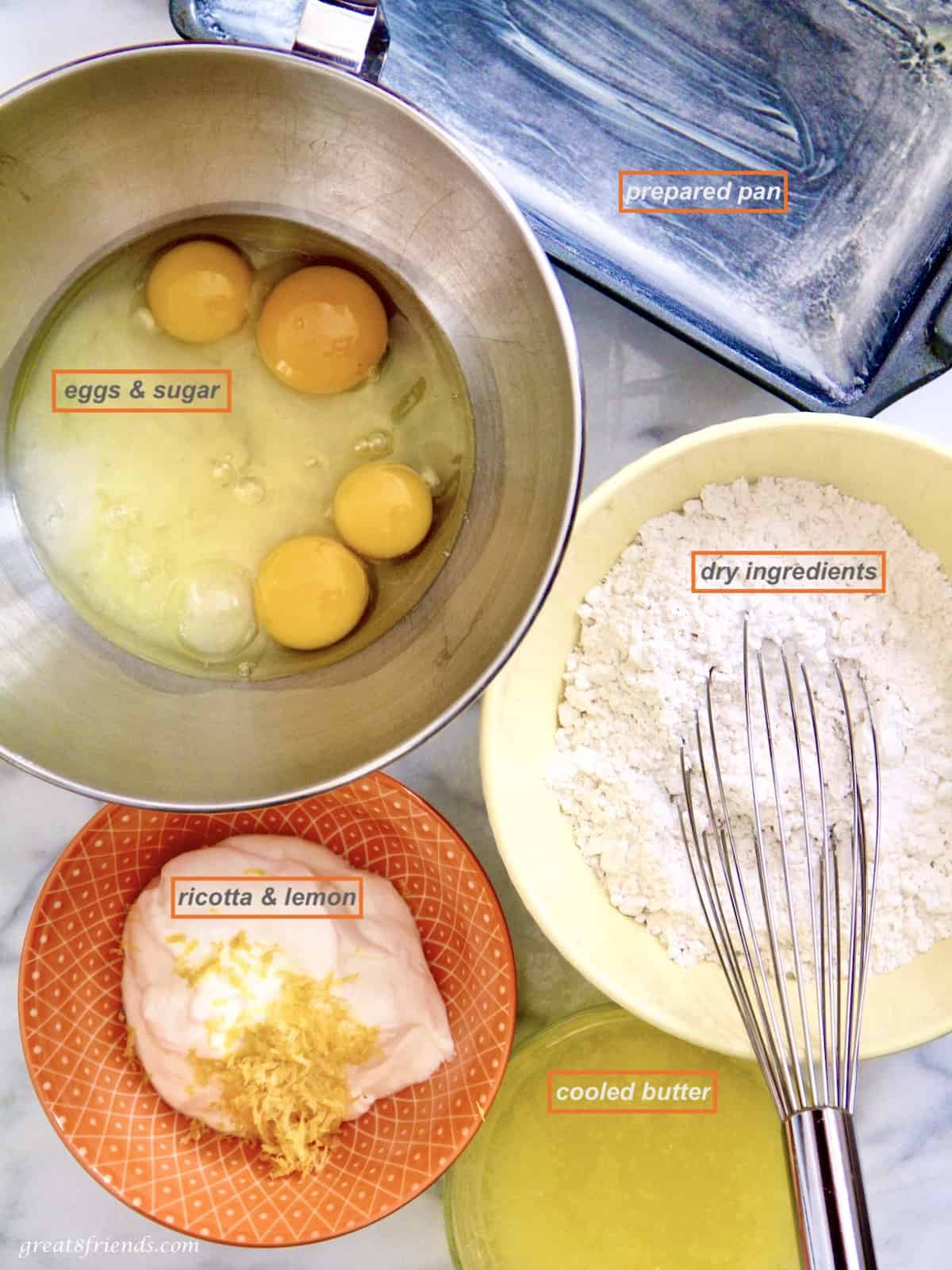 All the ingredients needed for a lemon ricotta cake.