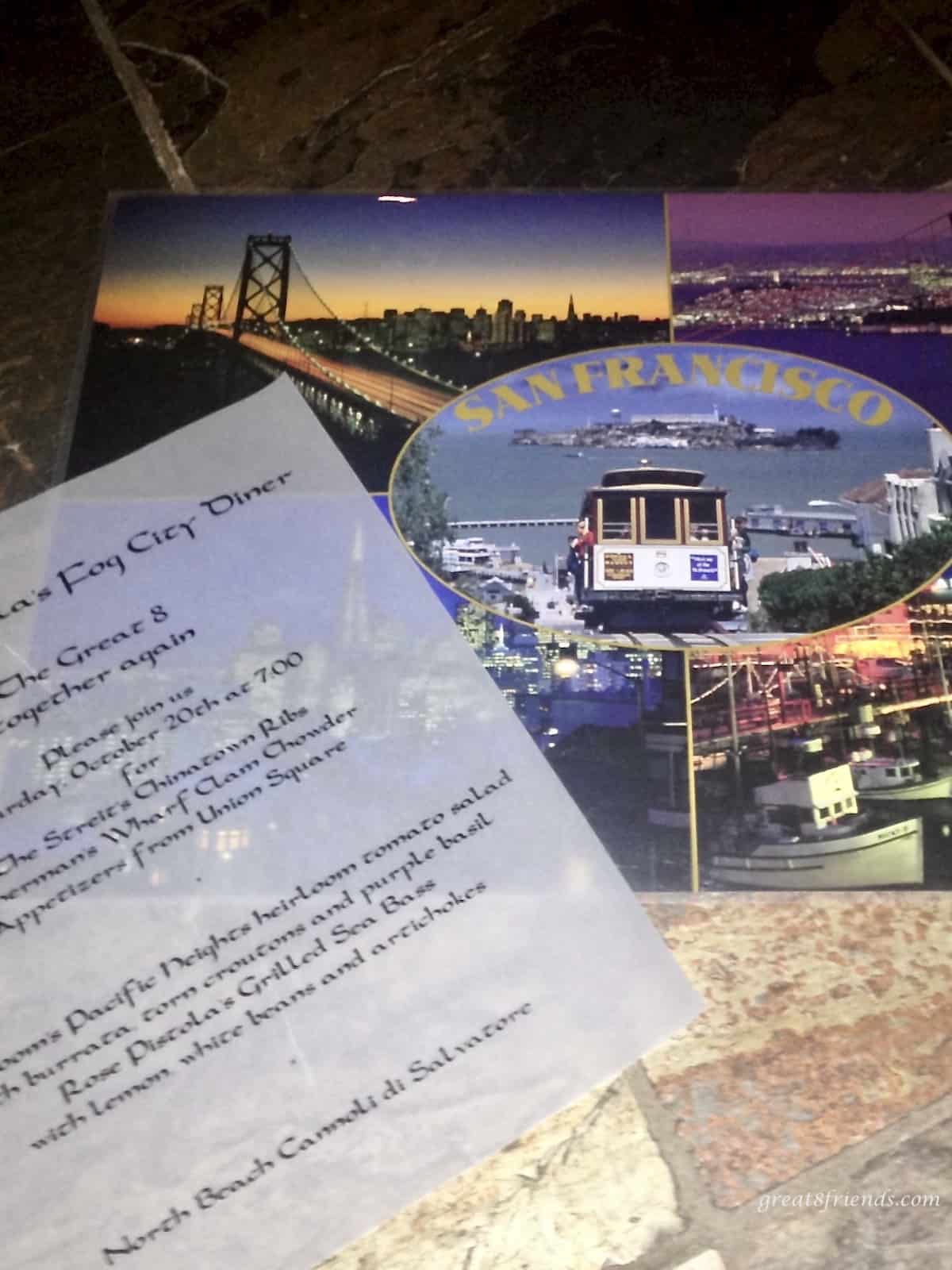 San Francisco themed dinner party invitation.