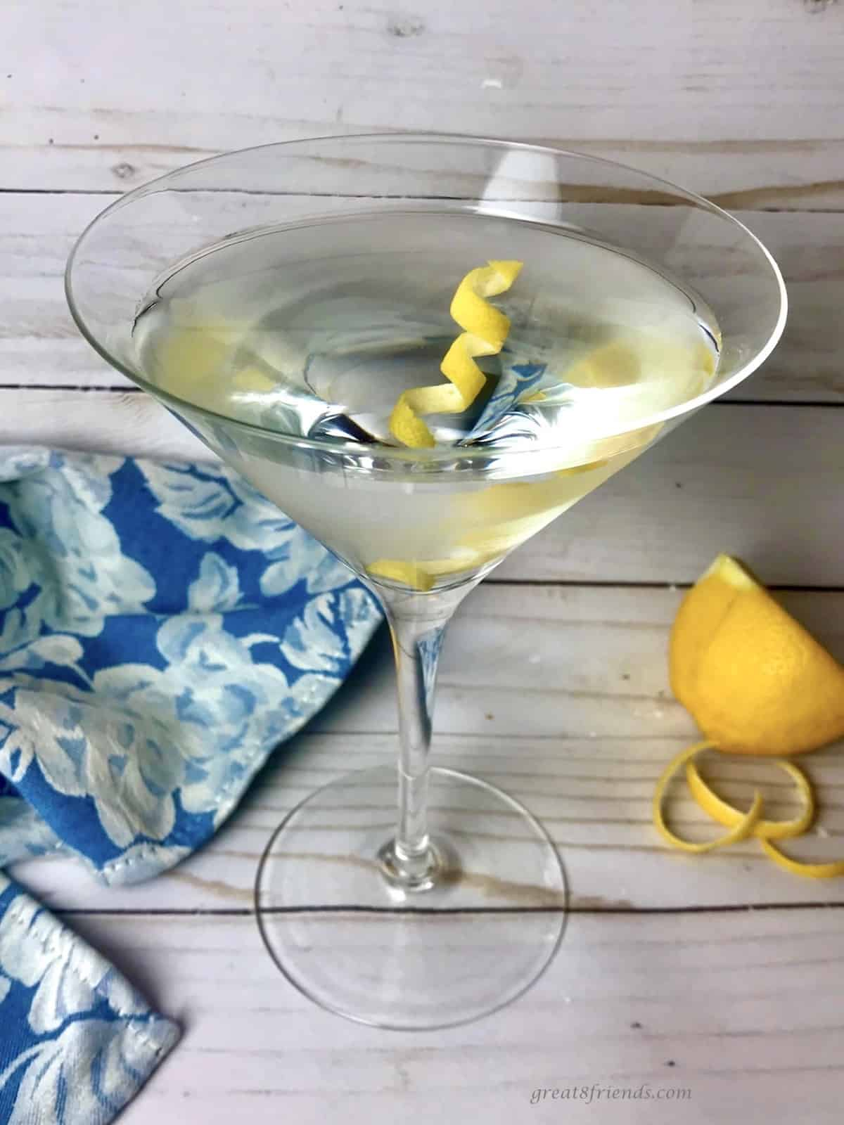 A classic gin martini with a lemon twist.