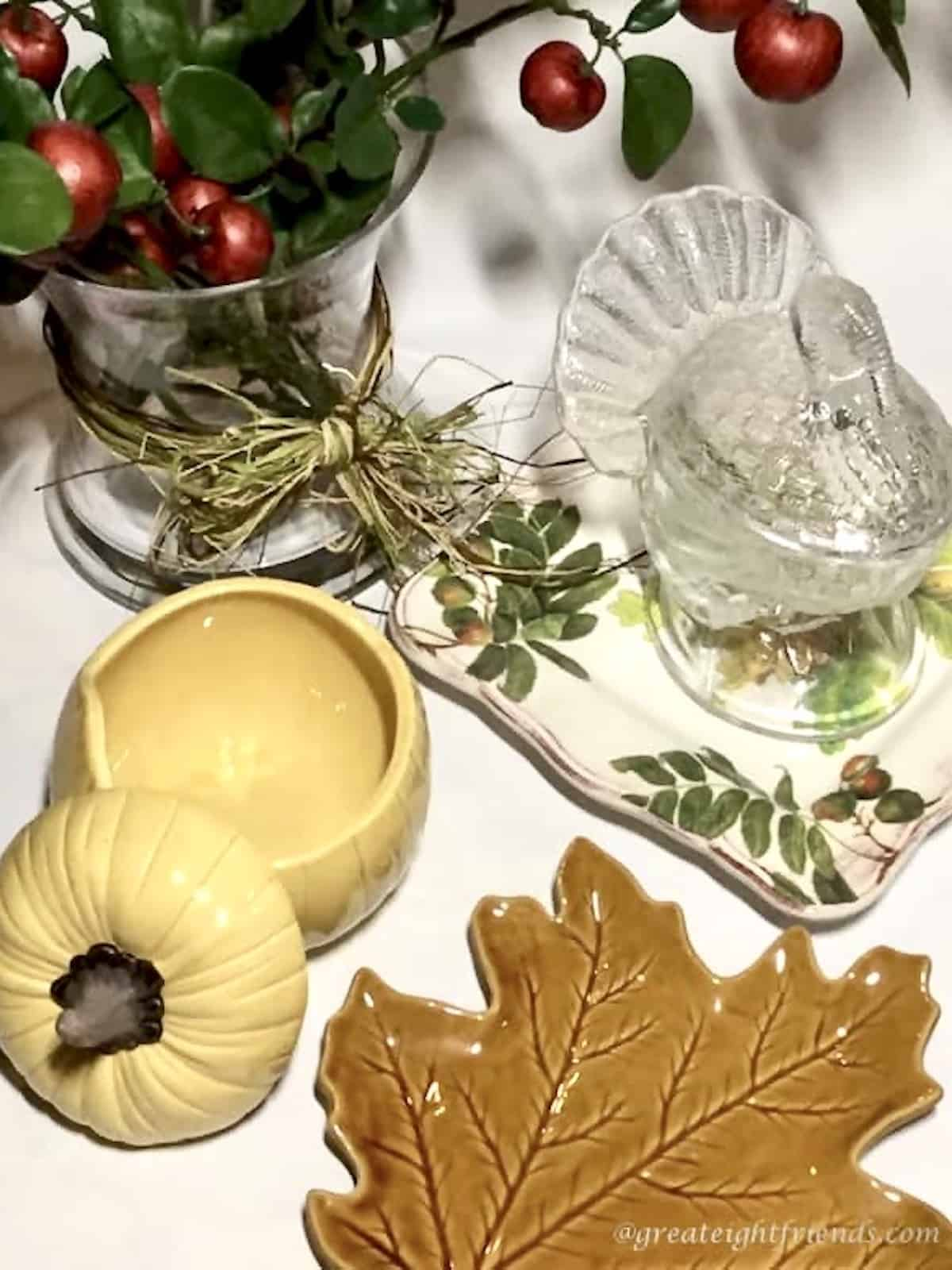 Fall themed glass containers in the shape of a turkey, pumpkin and fall leaf.