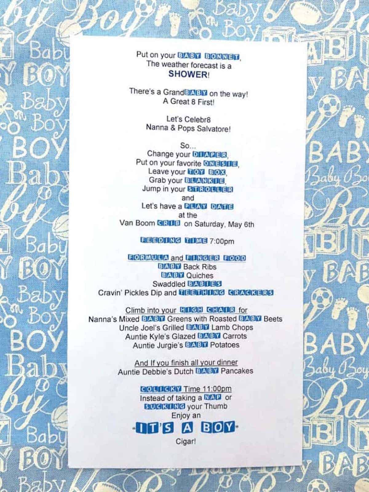 Invitation to a baby boy grand baby shower.