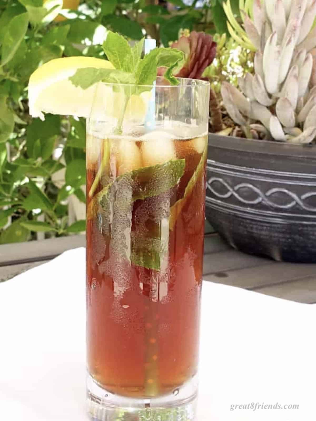 Tall glass of iced tea garnished with a lemon wedge and sprigs of fresh mint.